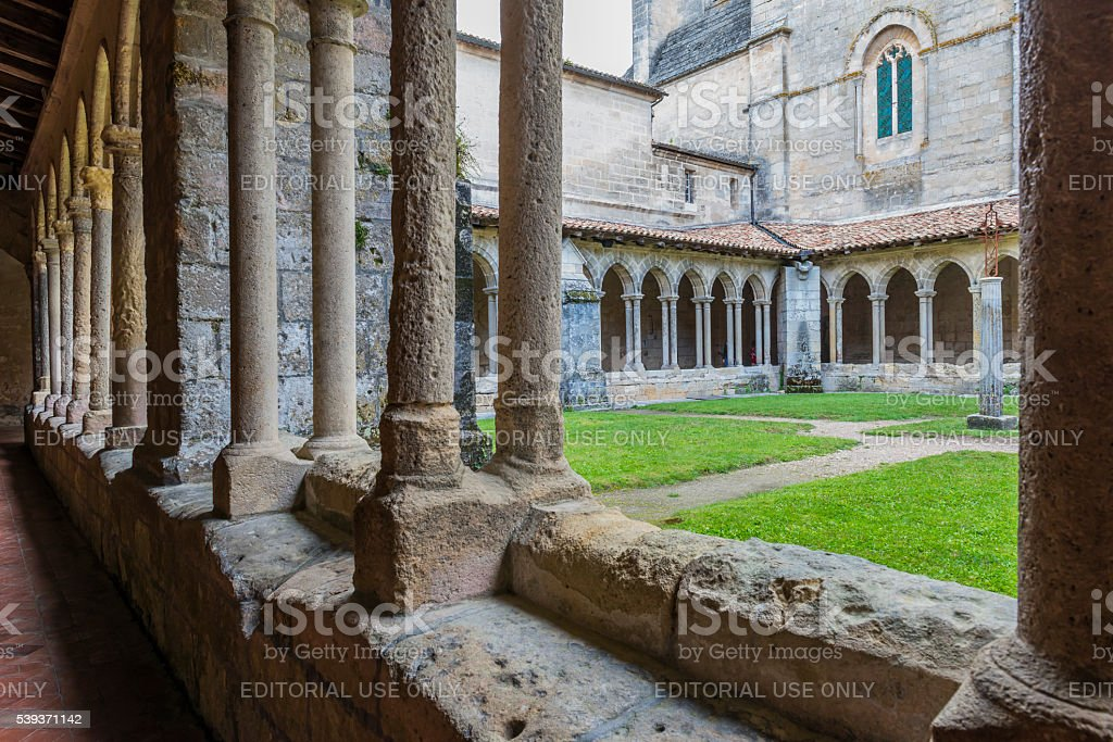 Patio of Monastery in saint-Emilion stock photo