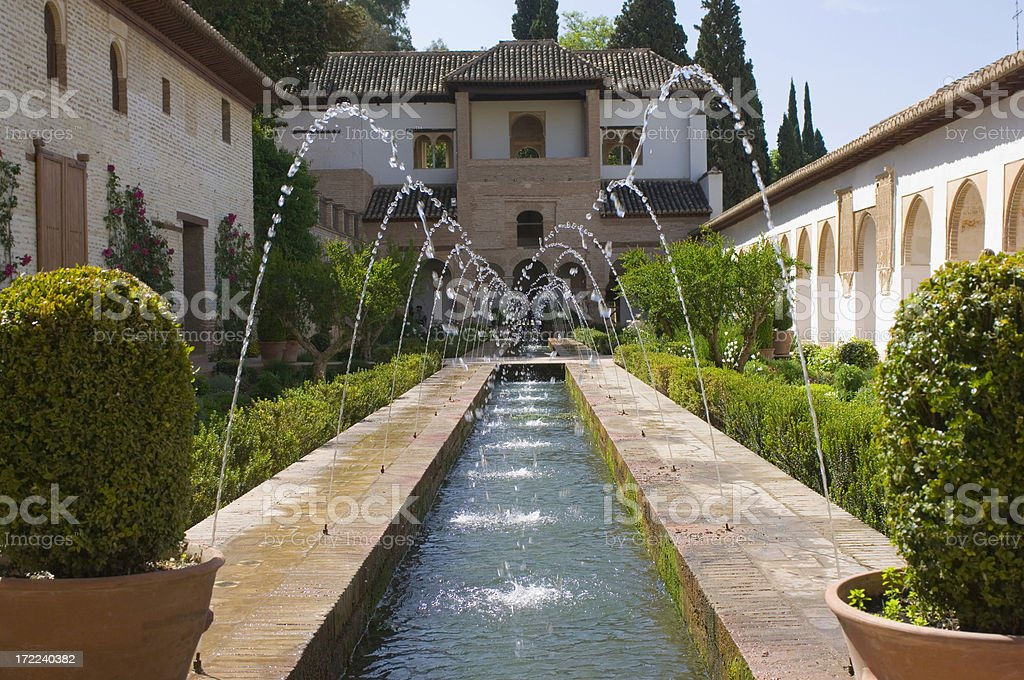 Patio of the Irrigation Ditch - Alhambra Palace stock photo