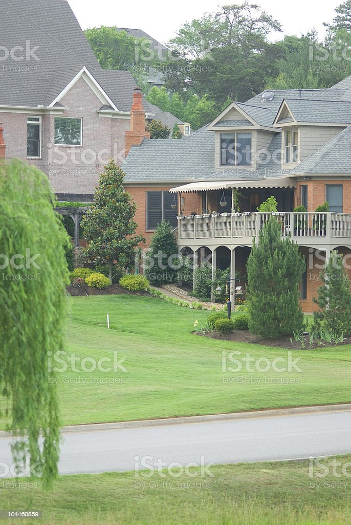 Patio on a large three-story house royalty-free stock photo