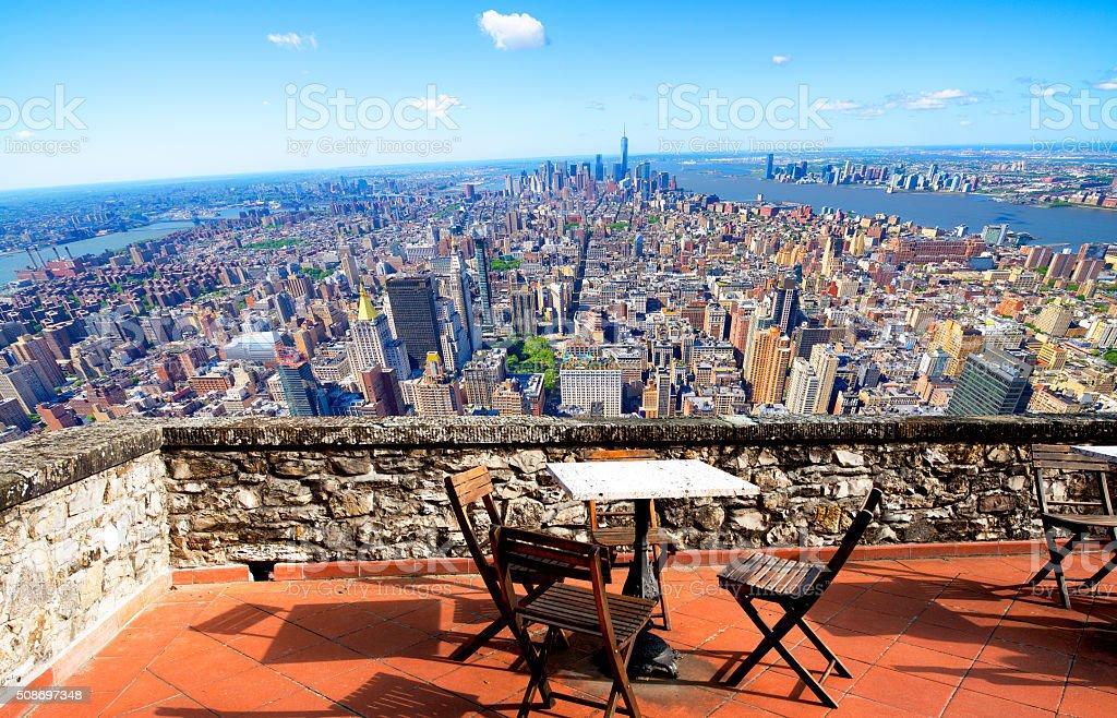 Patio over Manhattan stock photo