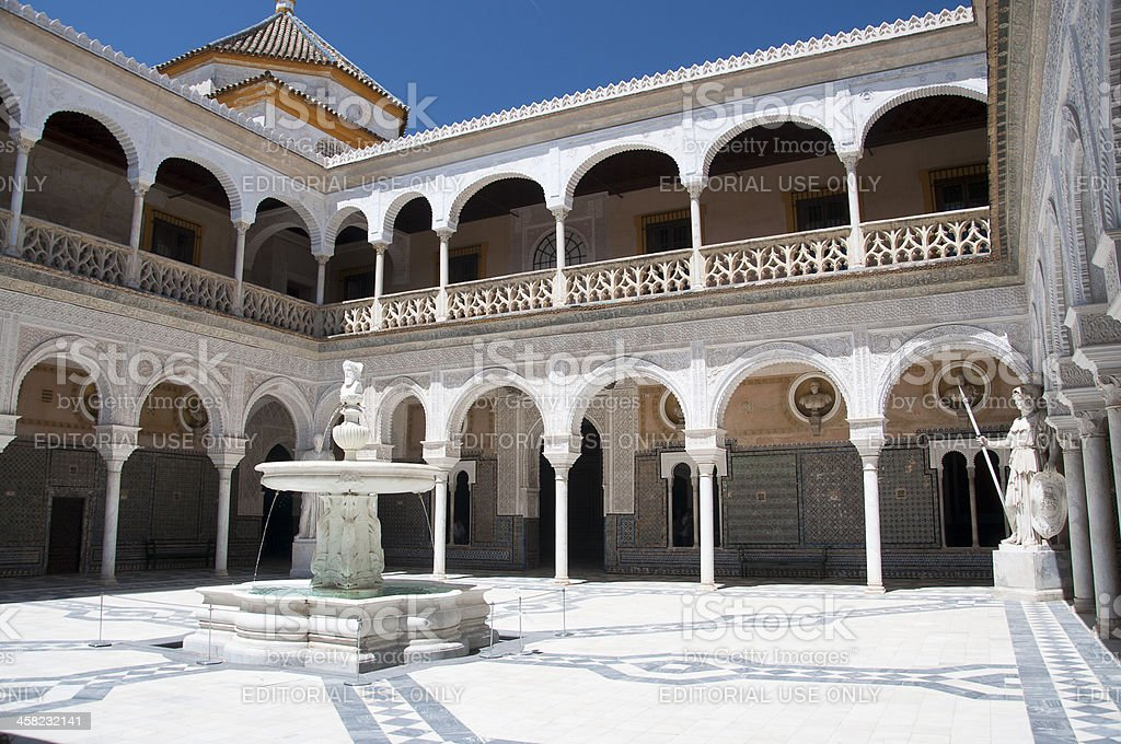 Patio Principal of La Casa De Pilatos, Seville In Spain royalty-free stock photo