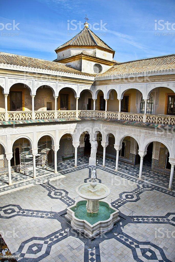 Patio Principal of La Casa De Pilatos, Seville In Spain. royalty-free stock photo