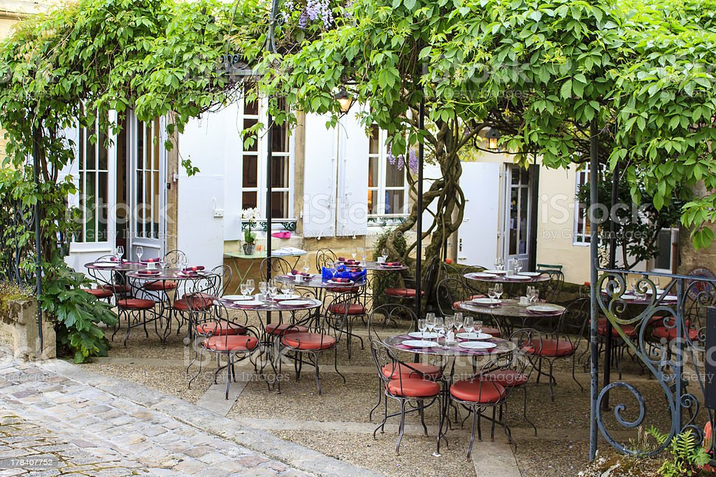 Patio restaurant in Southern France stock photo