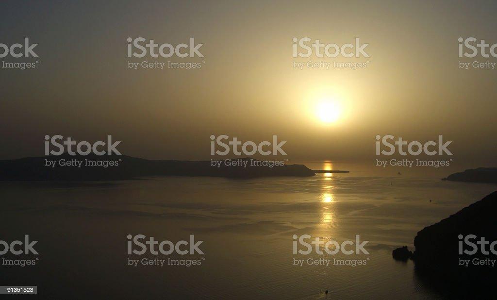 Patio Sunset in Santorini Greece royalty-free stock photo