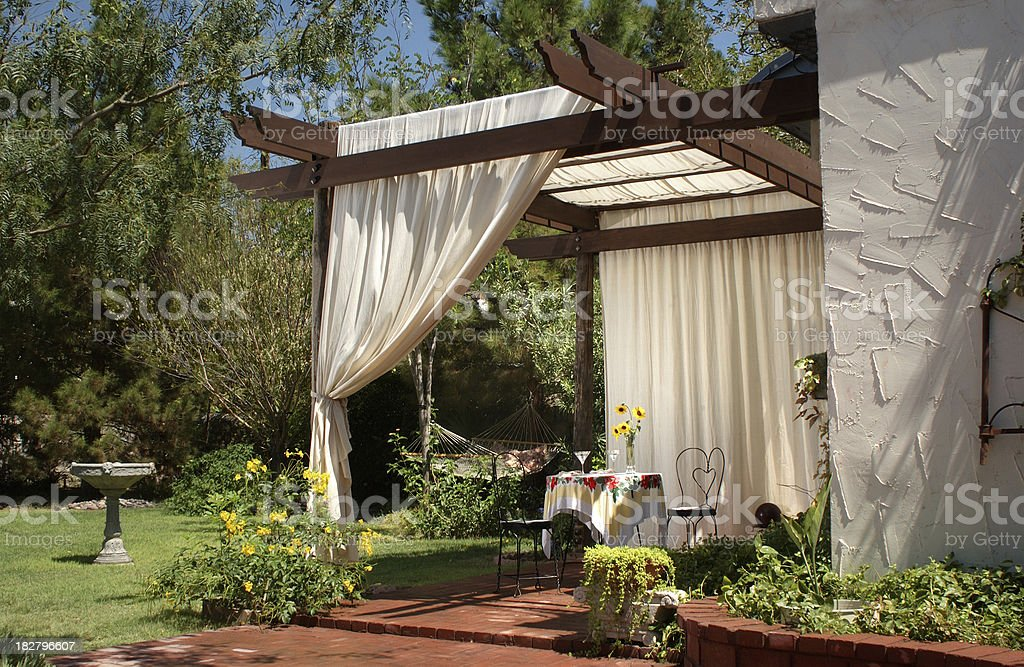Patio with Canvas Curtains royalty-free stock photo