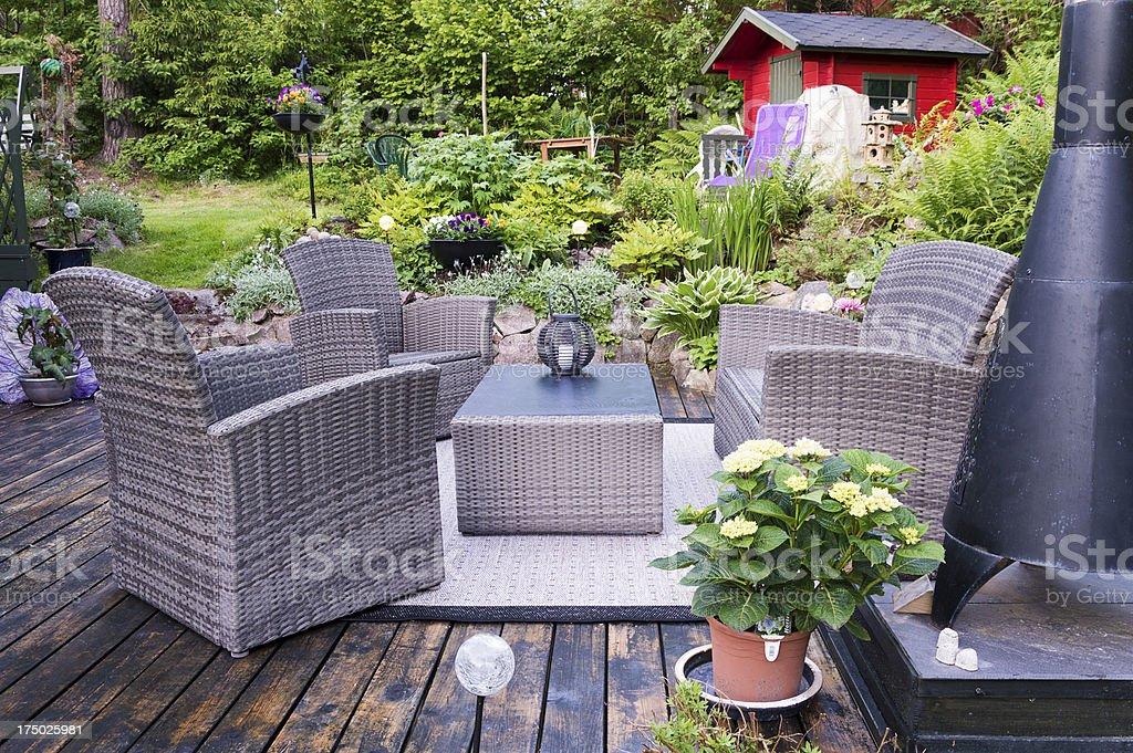 Patio with furnishings stock photo