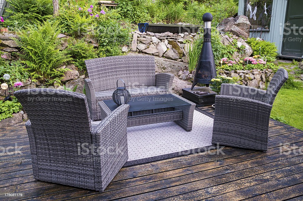 Patio with furnishings stock photo