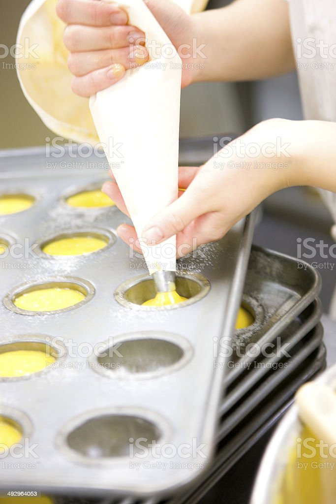 Patissier making pastry stock photo