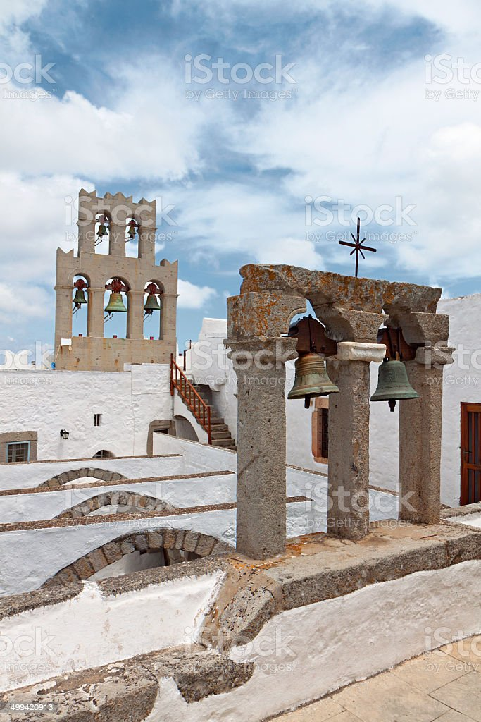 Patmos island in Greece. St. John the Evangelist monastery stock photo