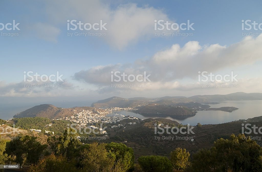 Patmos Island with Skala royalty-free stock photo