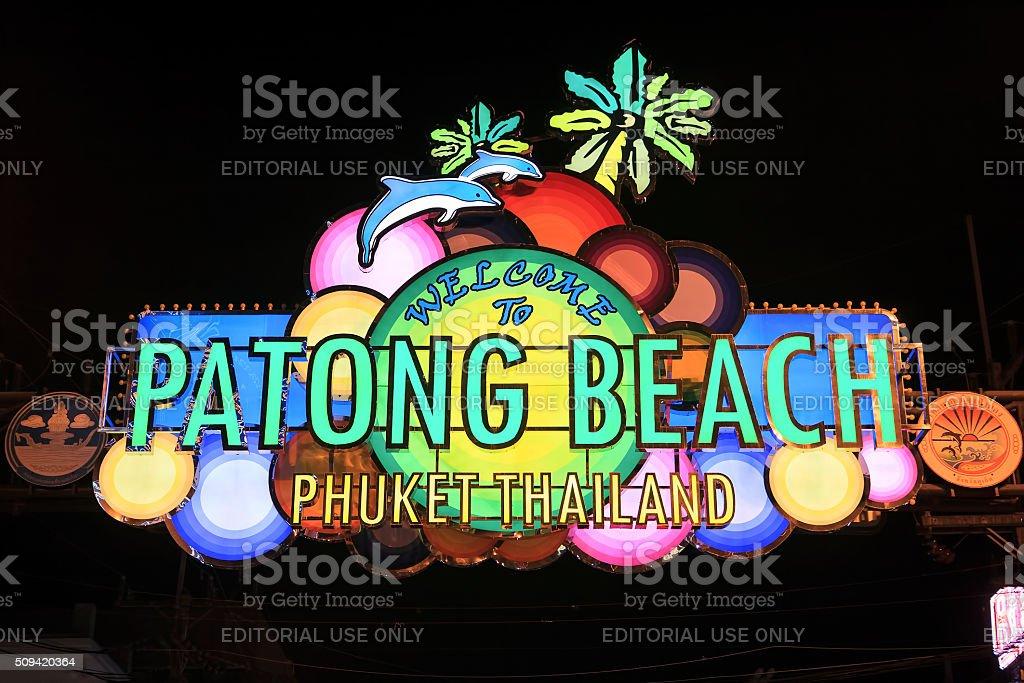 Patong Beach welcome sign at Bangla Road, Phuket stock photo