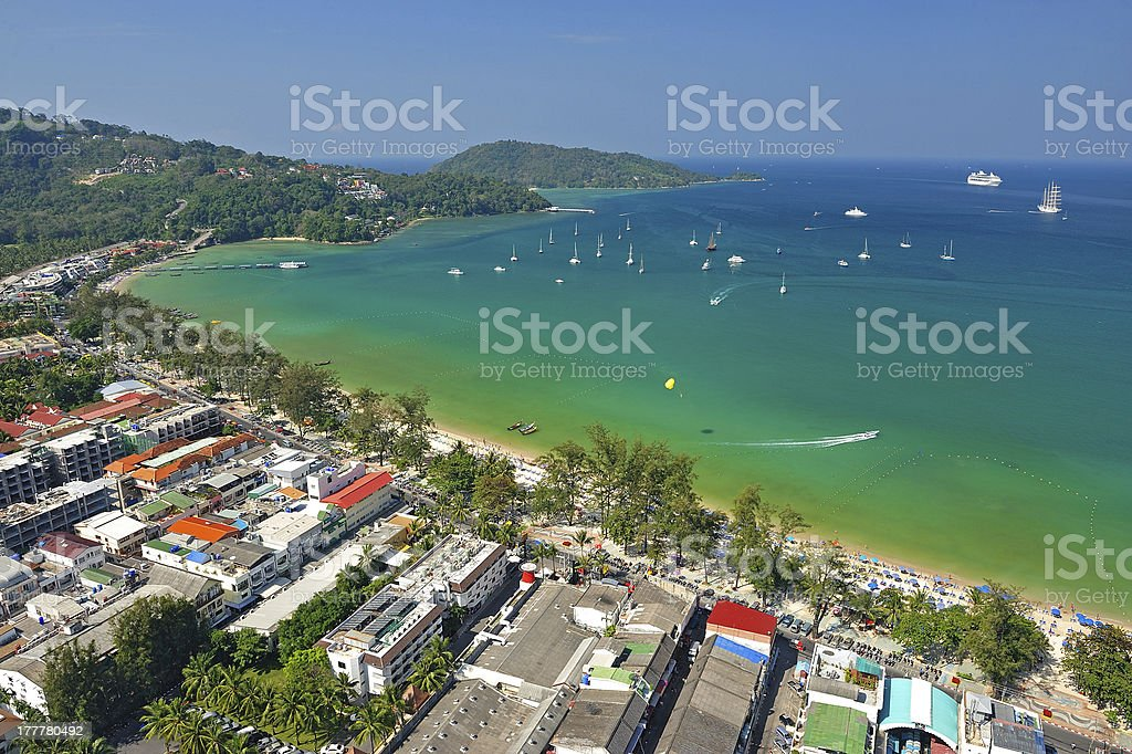 Patong tropical beach from aerial view,  Phuket. Thailand. stock photo