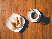 Patongko or deep fried dough stick morning set.