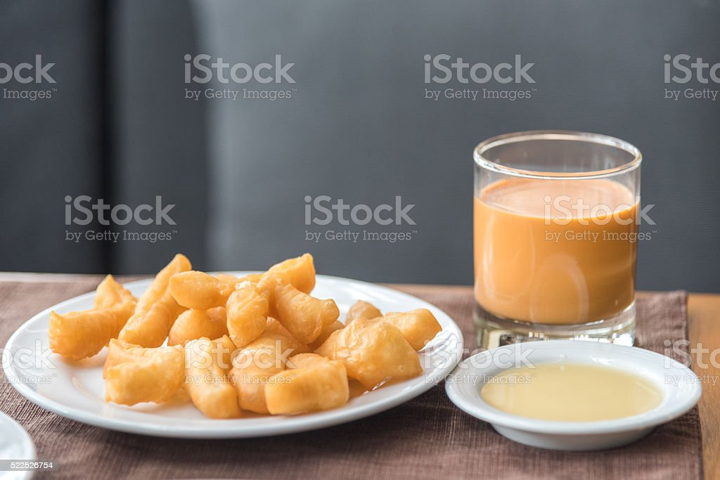 'patongko'  thai and chinese deep fried twin stick for breakfast stock photo