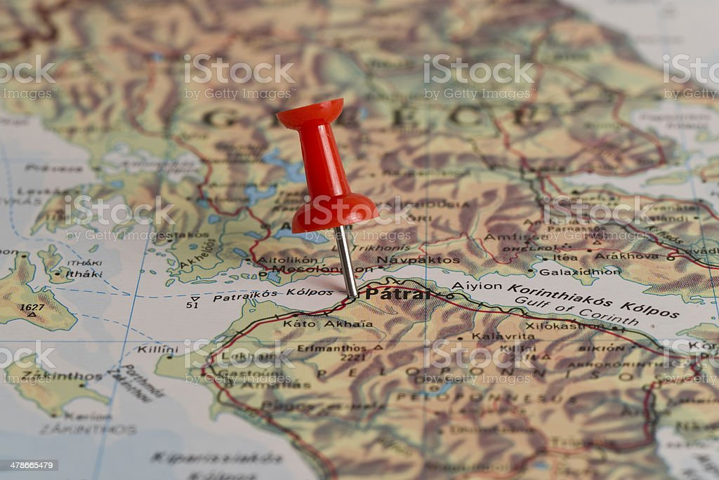 Patras Marked With Red Pushpin on Map stock photo