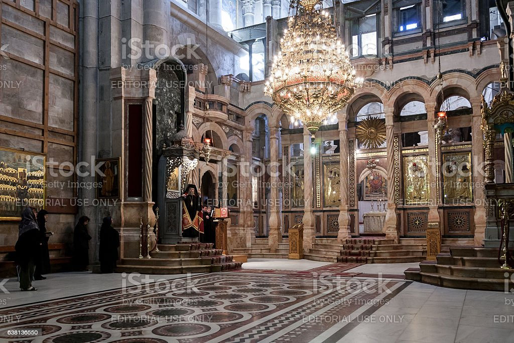 Patriarch of the Orthodox Church in Holy Sepulchre Church stock photo