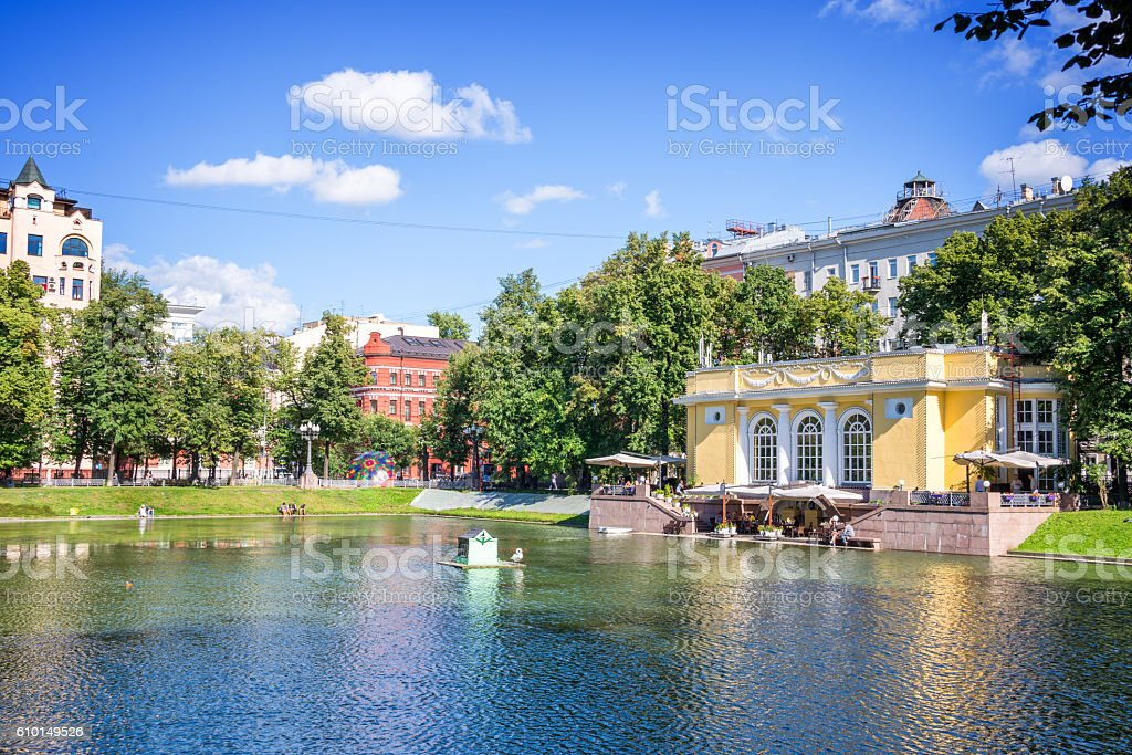 Patriarch pond, Moscow, Russia stock photo
