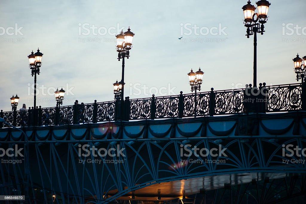 Patriarchal bridge in Moscow stock photo