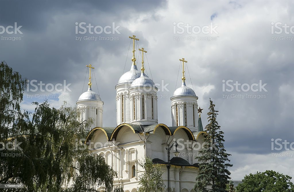 Patriarch's Palace and the Twelve Apostles' Church, Moscow Kremlin, Russia stock photo