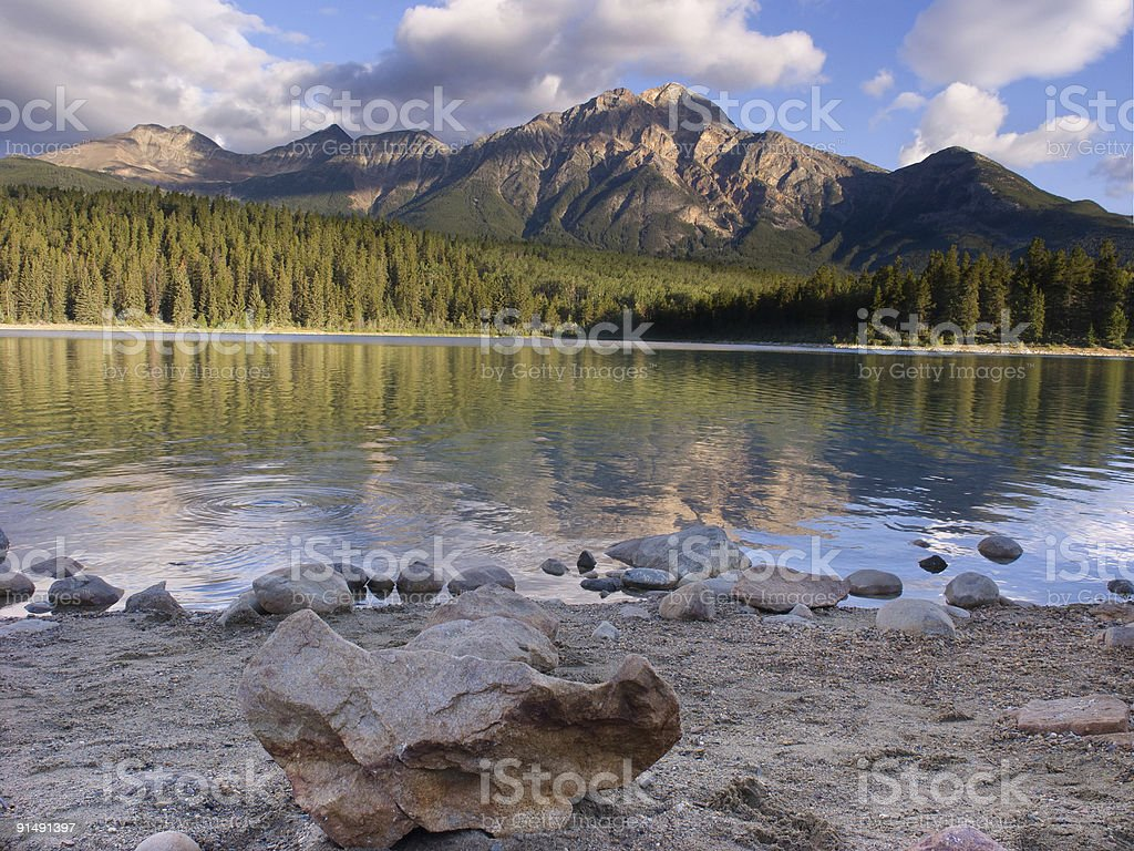 Patricia Lake Sunrise stock photo