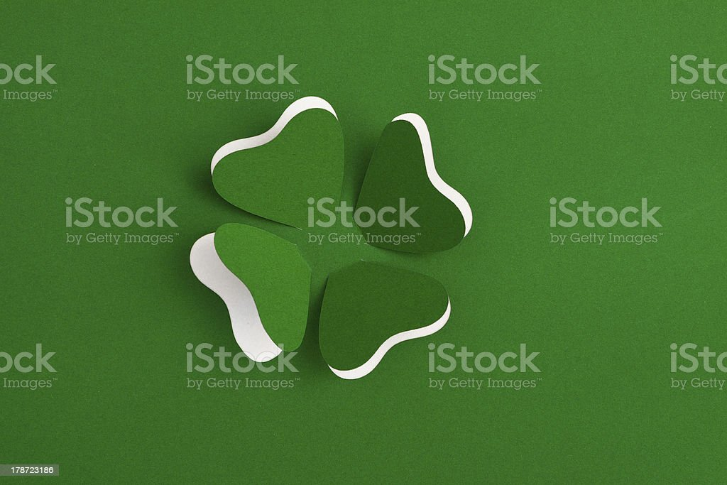 Patrick clover cut from paper. Greeting card. royalty-free stock photo