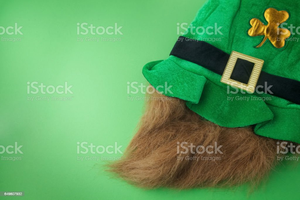 Patrick hat. Green hat on green background. Happy St. Patrick's day stock photo