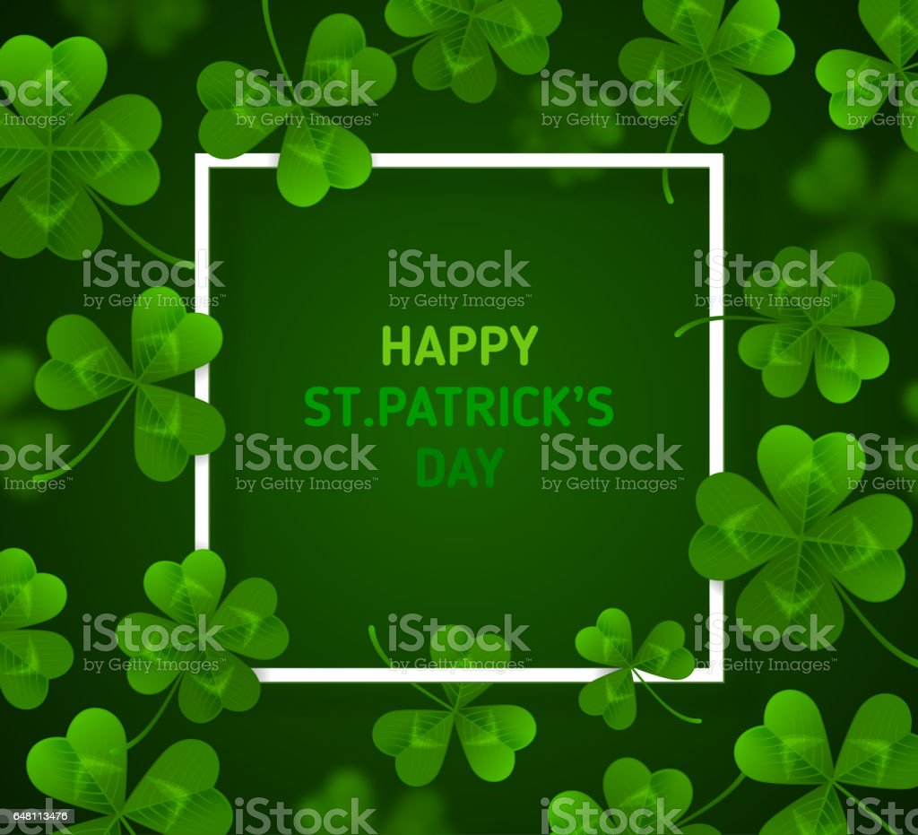 Patrick's Day with Clovers on Green Background stock photo