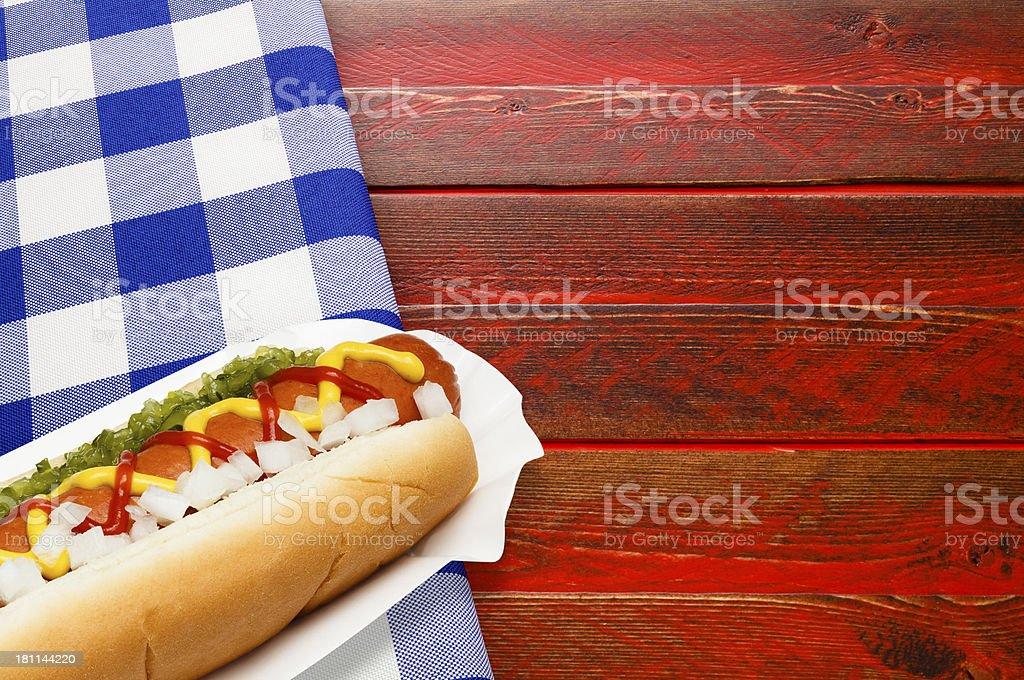 Patriot Picnic Hotdog royalty-free stock photo
