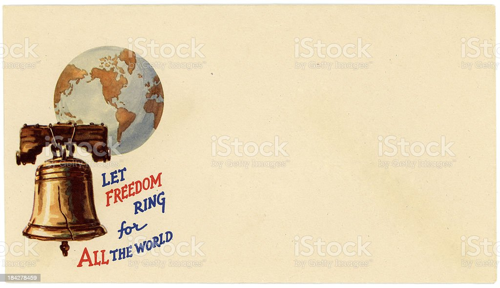 Patriotic Americana World War II Envelope Let Freedom Ring royalty-free stock photo
