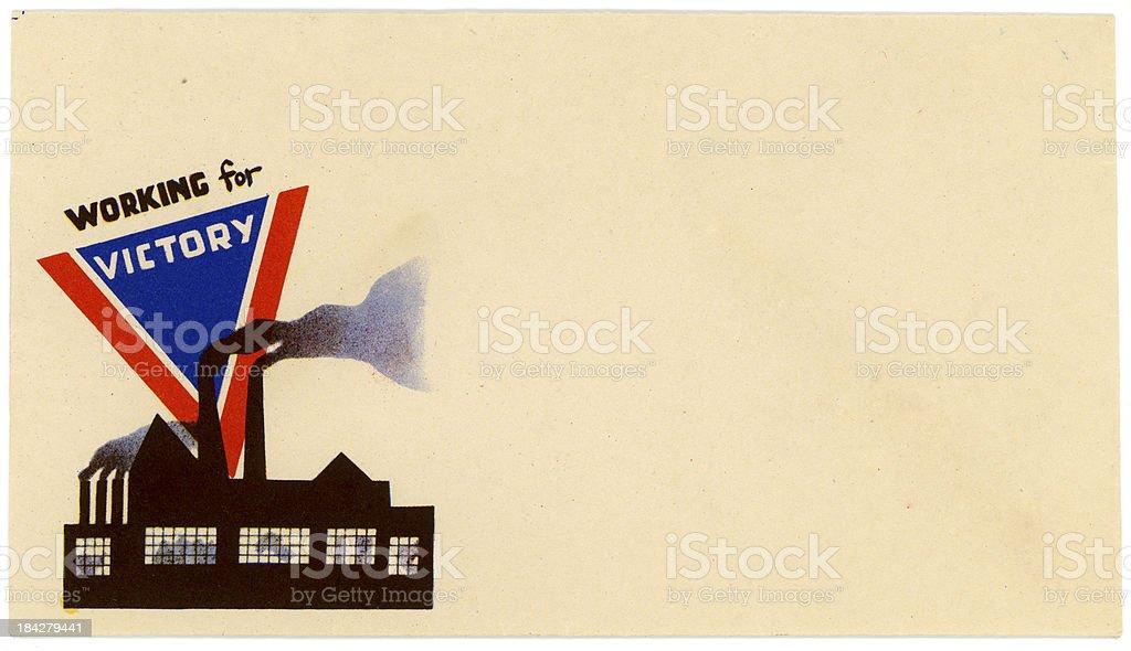 Patriotic Americana World War II Envelope Working for Victory stock photo