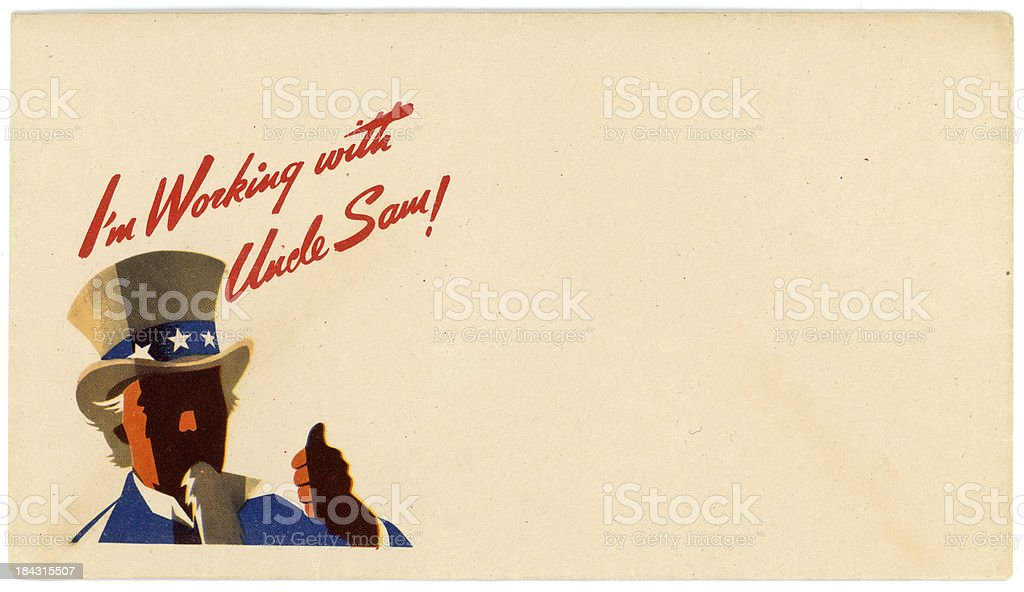 Patriotic Americana World War II Envelope Working with Uncle Sam stock photo