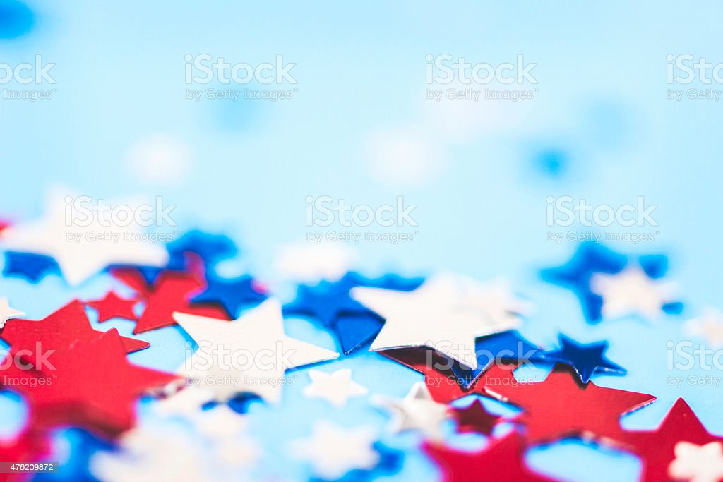 Patriotic background. Red, white and blue stars background. Independence Day stock photo