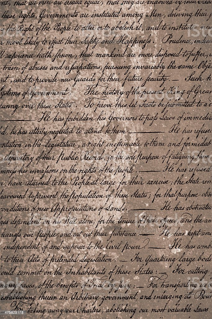 Patriotic background. USA Declaration of Independence text. stock photo