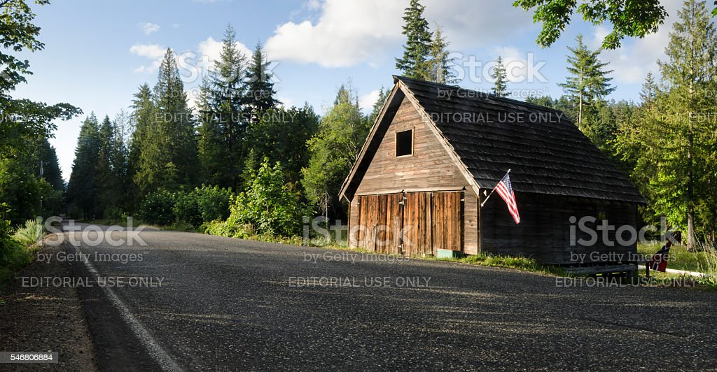 Patriotic Barn in Willard stock photo