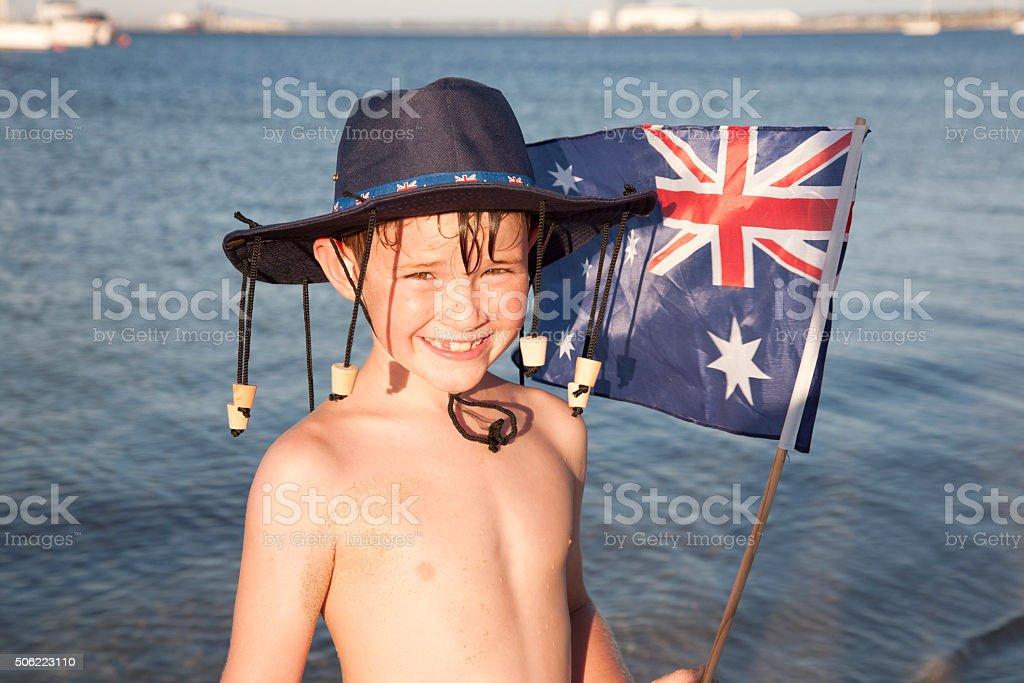 Patriotic Boy stock photo