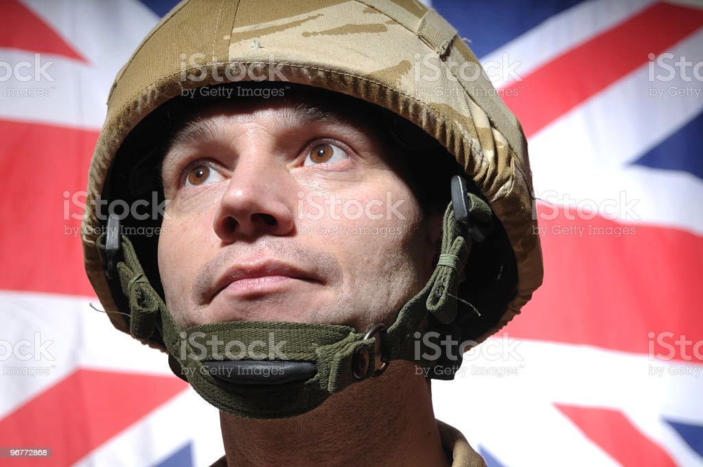 Patriotic British Soldier stock photo