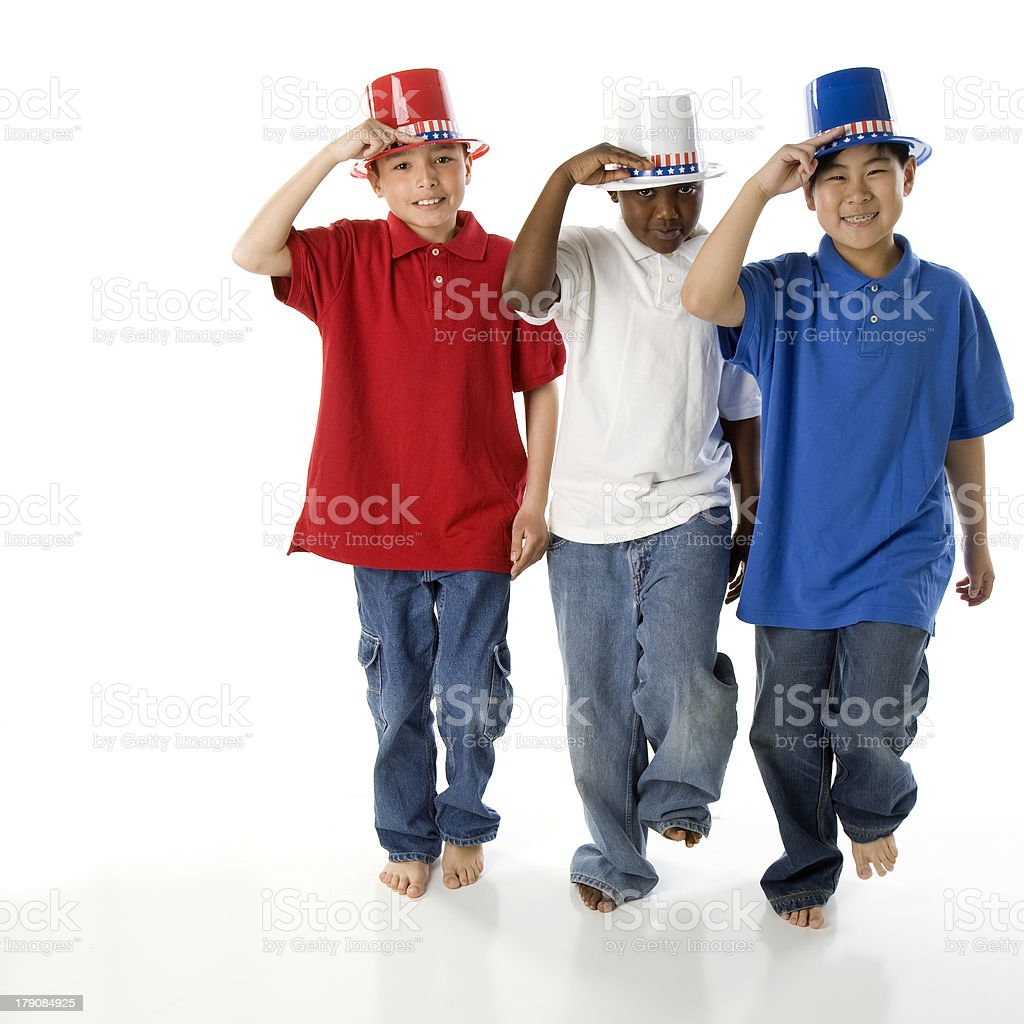 Patriotic Brothers of Mixed Ethnic Descent March and Salute royalty-free stock photo