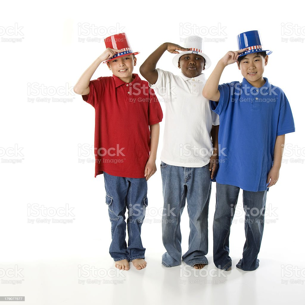 Patriotic Brothers of Mixed Ethnic Descent Salute royalty-free stock photo