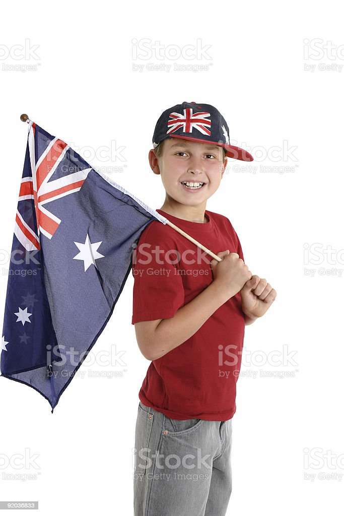 Patriotic child holding an aussie flag stock photo