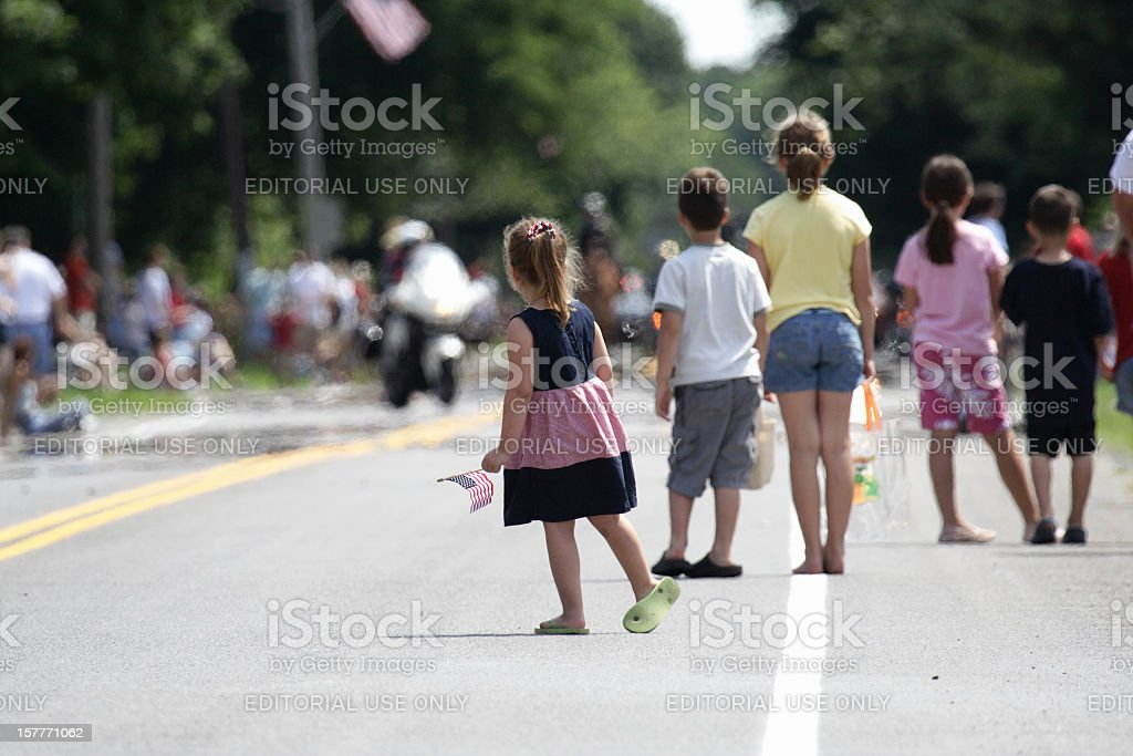 Patriotic Children Waiting for July 4th Parade stock photo