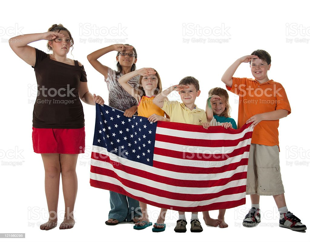 Patriotic children with Stars & Stripes royalty-free stock photo