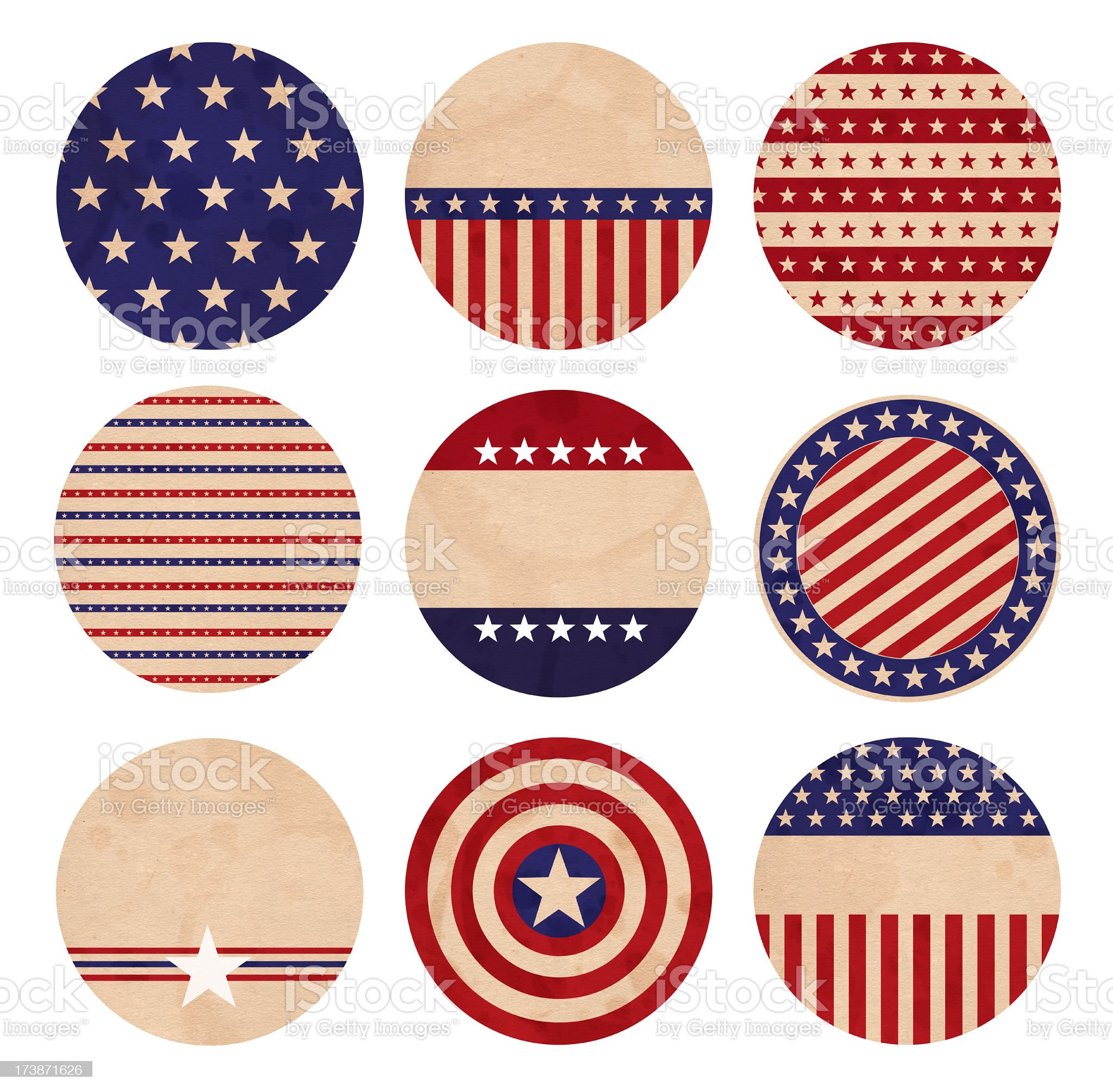 Patriotic Coasters / Buttons royalty-free stock photo