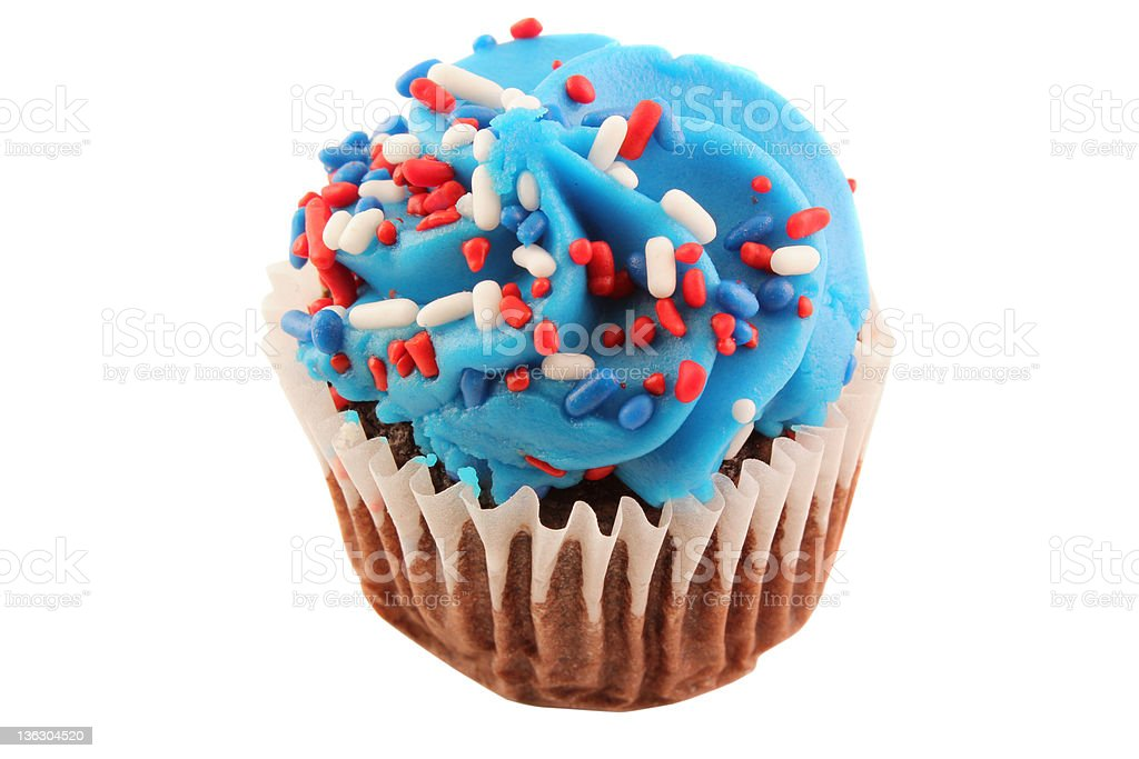 Patriotic Cup Cake Isolated | Red, White and Blue stock photo