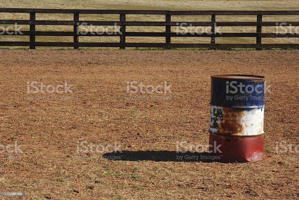 Patriotic drum for barrel racing in horse ring stock photo