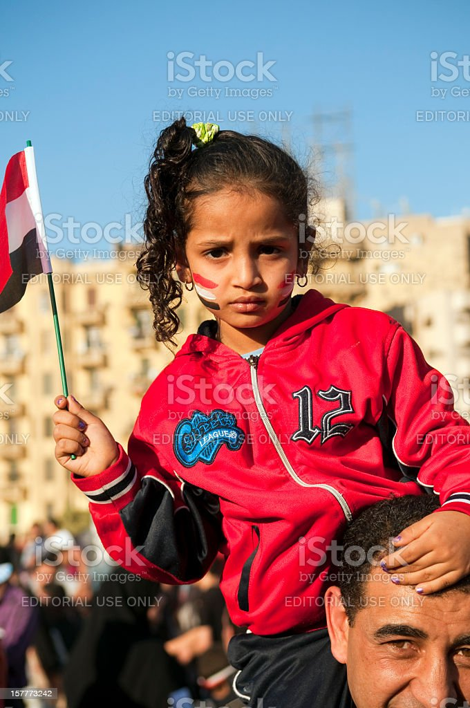 Egyptian girl in Tahrir Square royalty-free stock photo