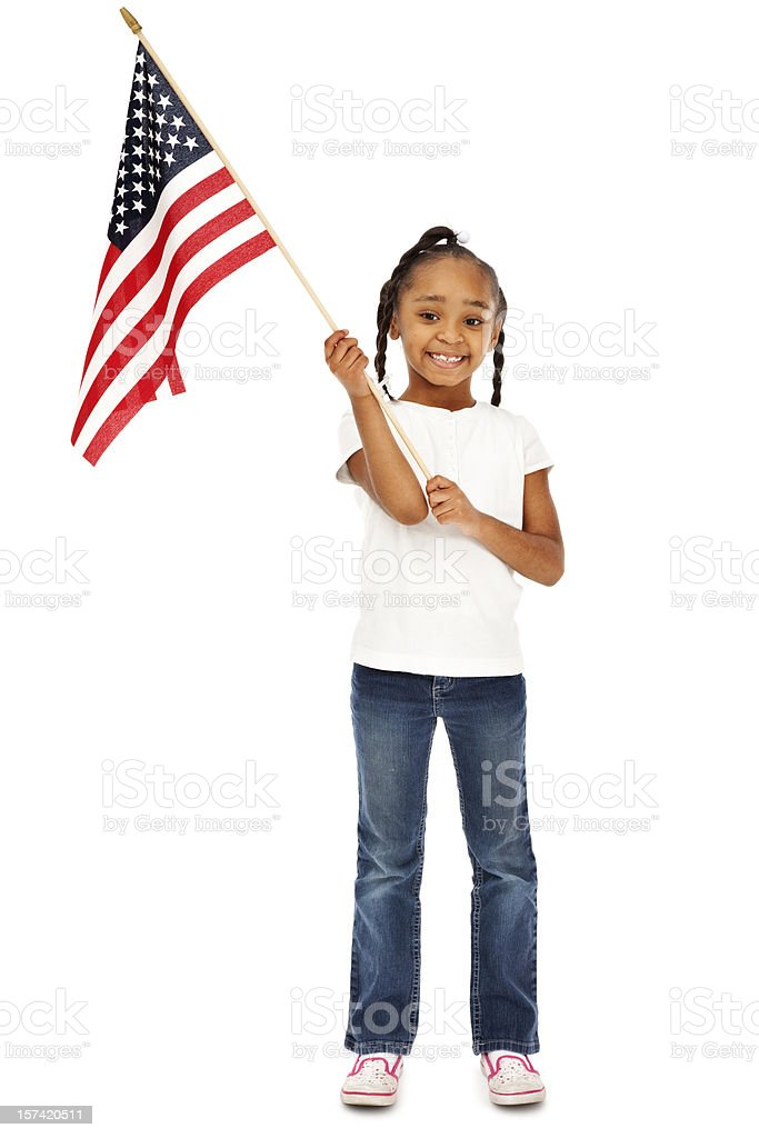 Patriotic Girl with American Flag stock photo