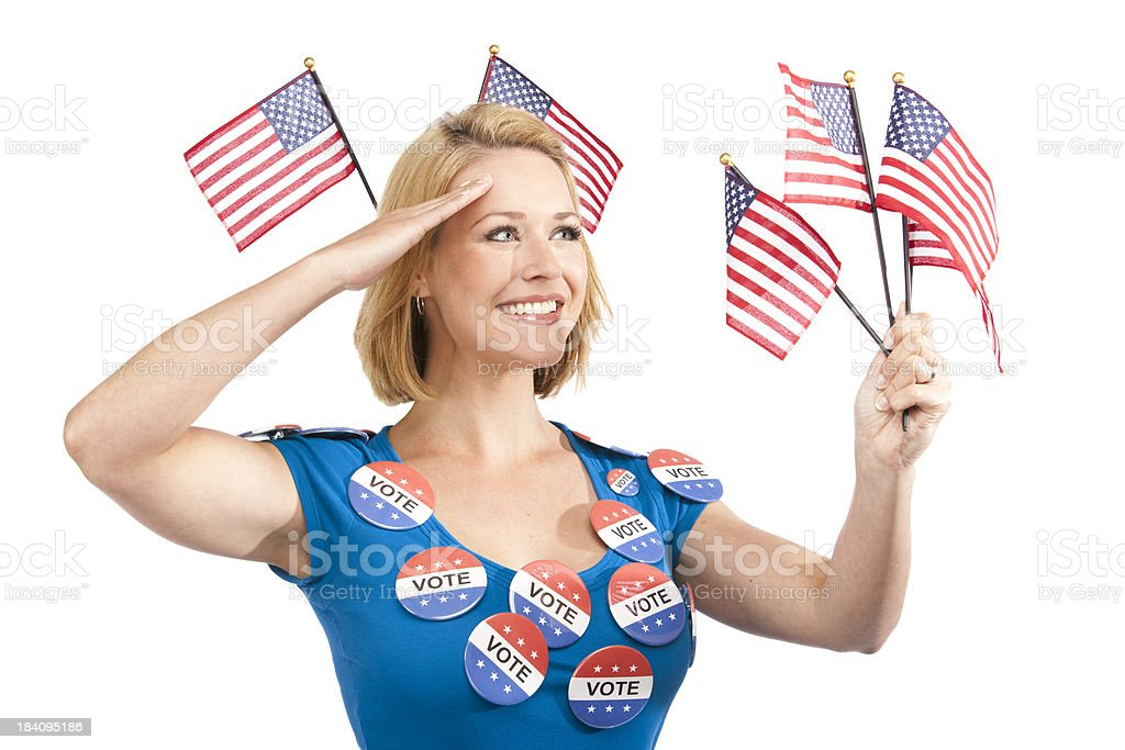 Patriotic Happy Youthful Girl Holding American Flags royalty-free stock photo