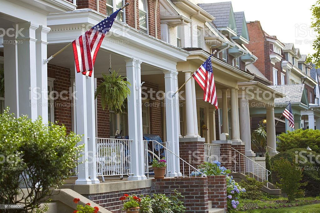 Patriotic Homes stock photo