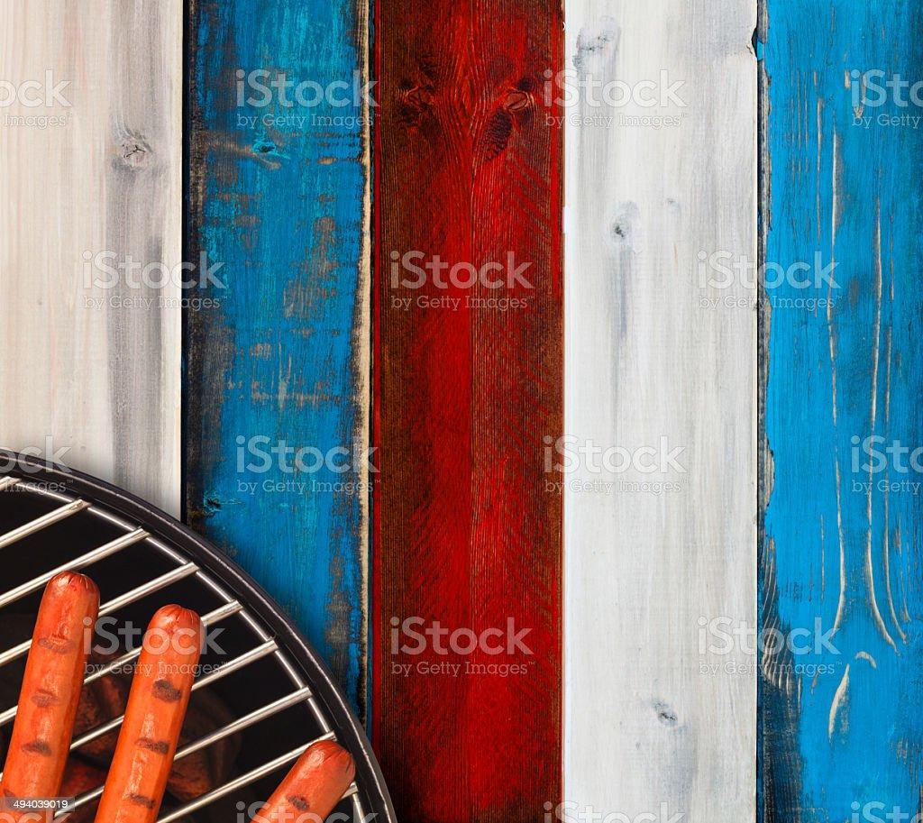 Patriotic Hotdog Picnic stock photo