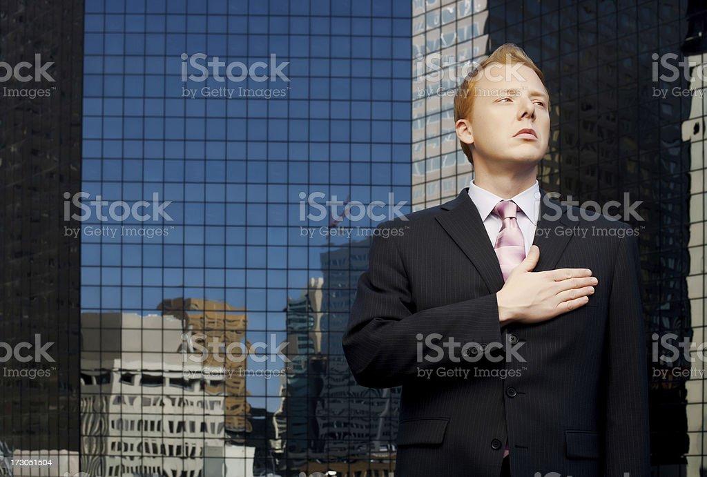 patriotic man on roof stock photo